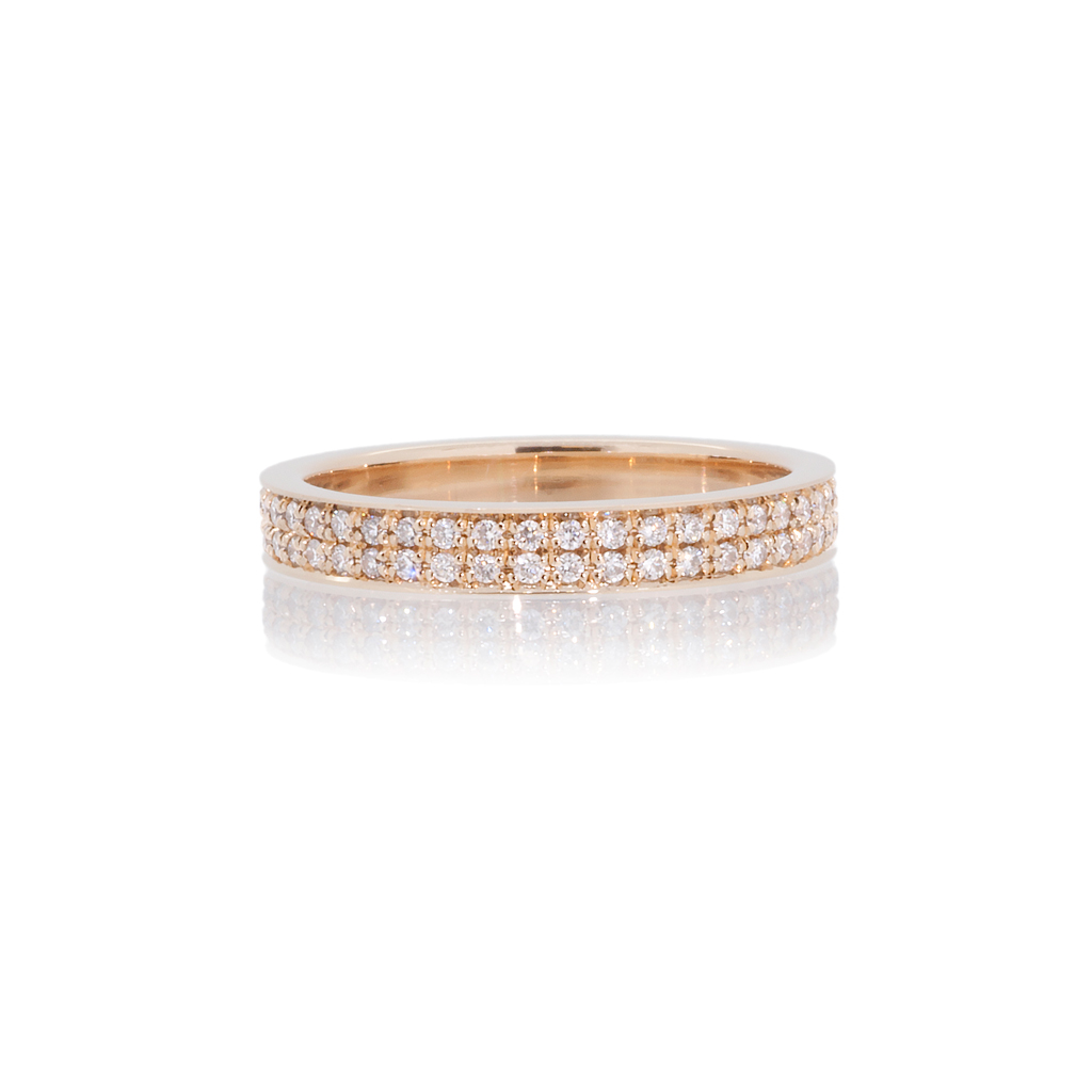 Rose gold ring set with two rows of 1.0mm diamonds on a white background