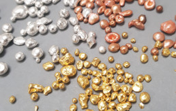 nuggets of gold, silver and copper