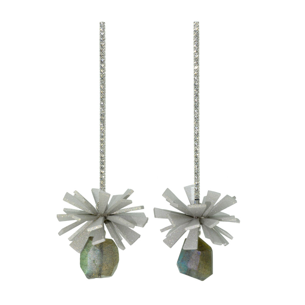 Hanging earrings on a white background.