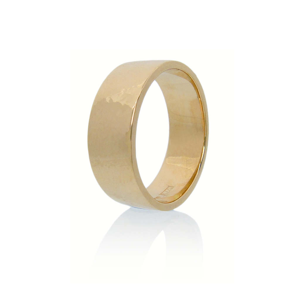 6mm wide 18k rose gold ring with a flat profile standing upright against a white background.