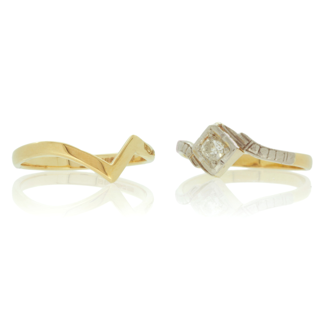Zig-zag wedding ring next to a vintage engagement ring set against a white background.