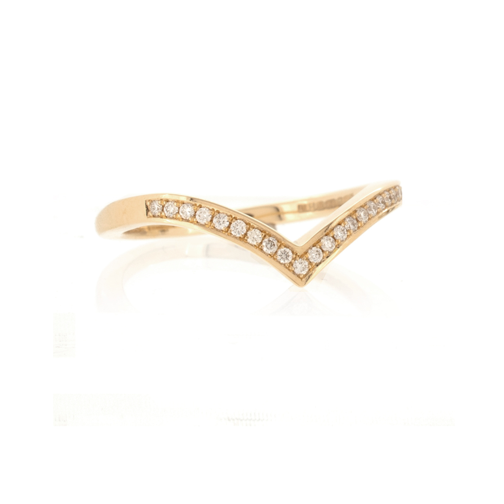 Diamond set V-shaped wedding band in light rose gold on a white background.