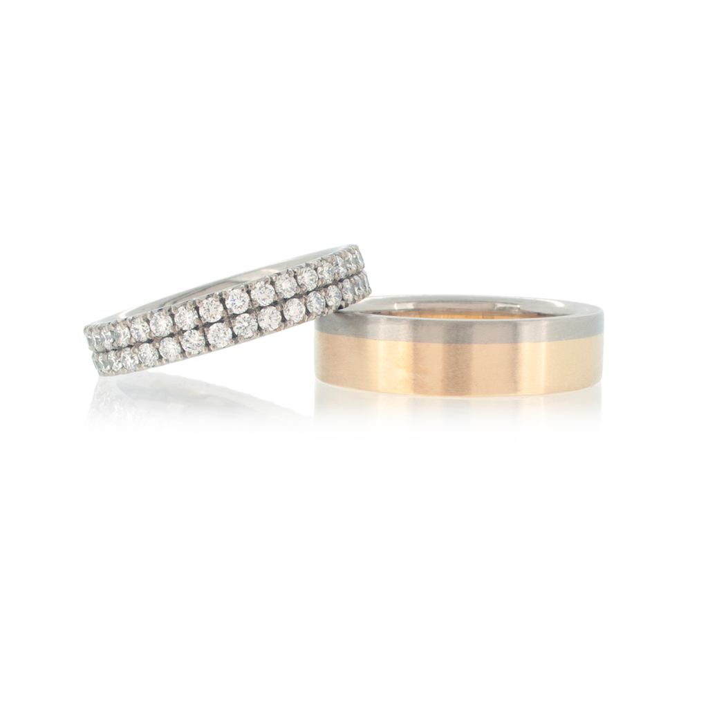Double row diamond eternity band with matching bi-coloured 'Saturnian' ring in yellow & white gold.