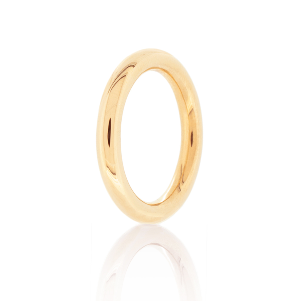 Halo ring in light rose gold standing up on a white background.
