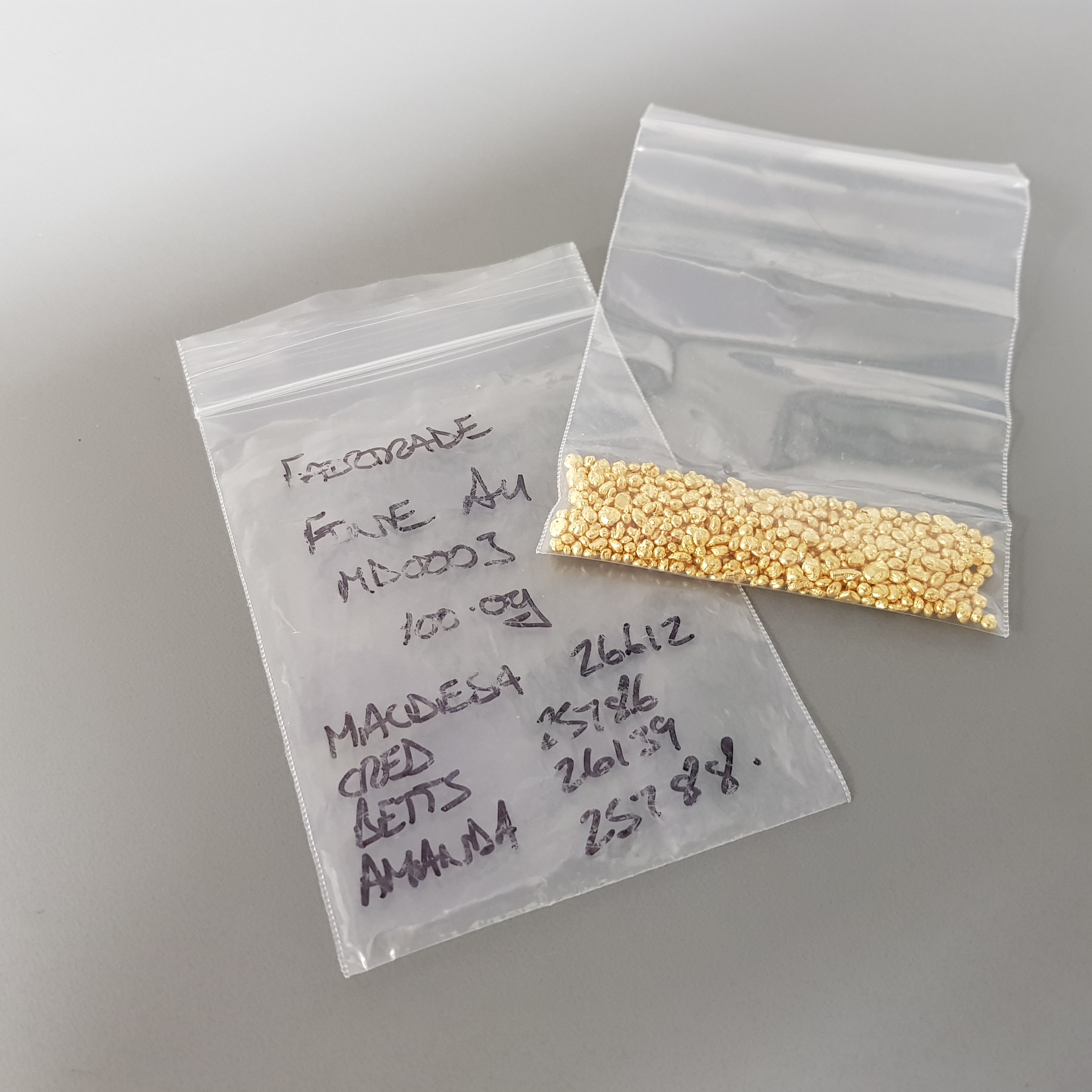 Pure gold grains in a plastic baggie on a grey background.