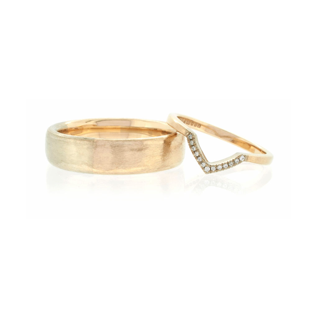 Bespoke Ethical Two Tone Arc And V Shaped Rings In Fairtrade Gold