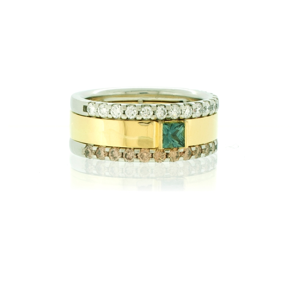 Three stripe cigar band with champagne and colourless diamonds and a teal sapphire on a white background.