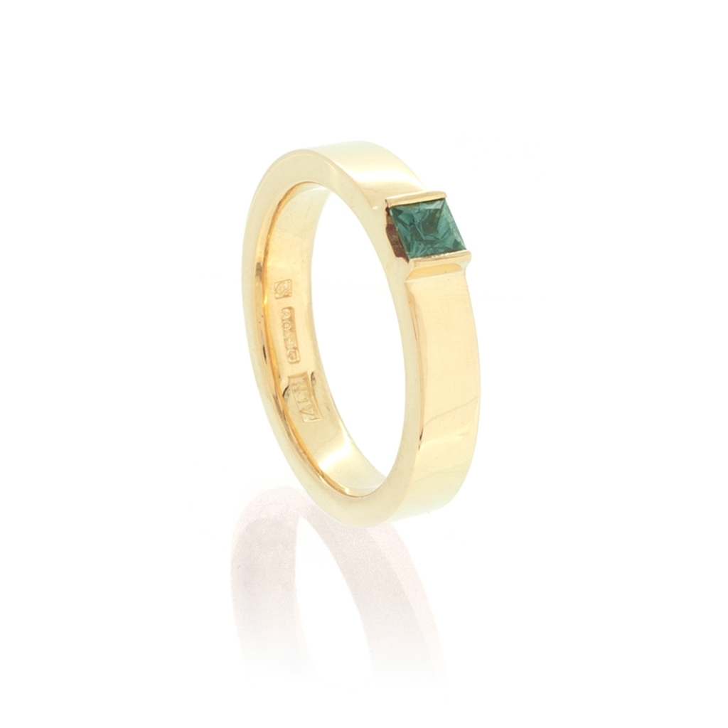 Yellow gold and teal-coloured, square sapphire ring on a white background.